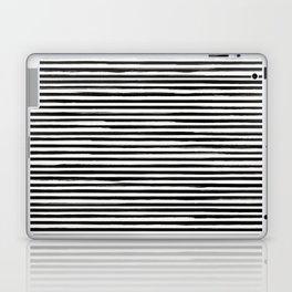 Skinny Stroke Horizontal Black on Off White Laptop & iPad Skin