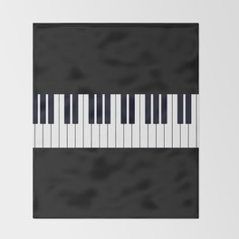 Piano Keys - Black and white simple piano keys pattern minimalistic music themed artwork Throw Blanket