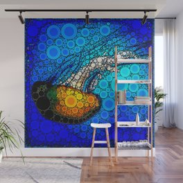Ocean jellyfish photo bubble art | Go with the flow Wall Mural