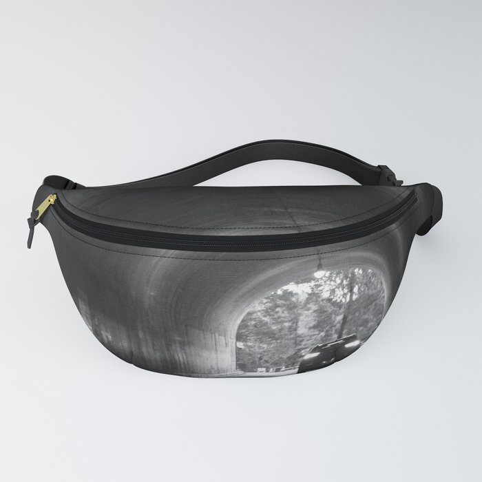Travel photography through the tunnel black & white Fanny Pack
