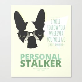Boston Terrier: Personal Stalker. Canvas Print