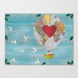 Christmas Santa Claus in a Hot Air Balloon for Peace Canvas Print