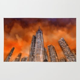 City in sunset Rug