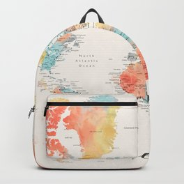 """""""Explore"""" - Colorful watercolor world map with cities Rucksack"""