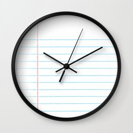 Notebook Paper Digital Watercolor School Chalk Wall Clock