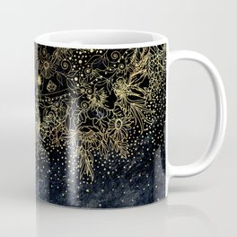 Stylish Gold floral mandala and confetti Coffee Mug