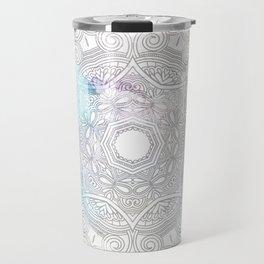 abstract gray and turquoise mandala design in minimal style Travel Mug
