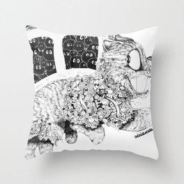 Studio Ghibli Cat Bus Black & White Zentangle Drawing Doodle Throw Pillow