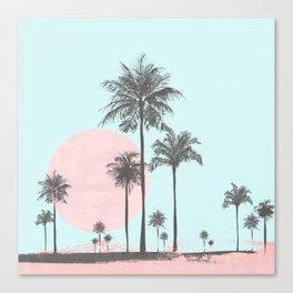 Beachfront palm tree soft pastel sunset graphic Canvas Print