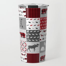 Plaid camping cabin outdoors nature quilt design gender neutral kids baby design Travel Mug