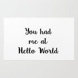 You had me at hello world - Funny Programming Joke Rug