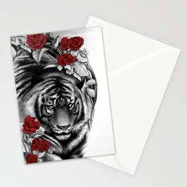 Tiger and Roses Stationery Cards