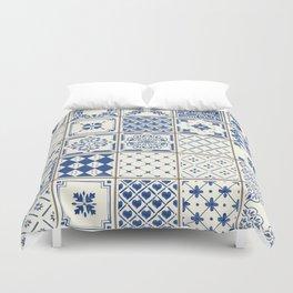 Blue Ceramic Tiles Duvet Cover