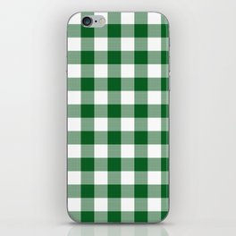 Hunter Green Checker Gingham Plaid iPhone Skin