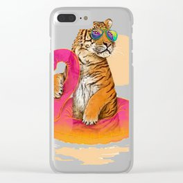 Chillin, Flamingo Tiger Clear iPhone Case
