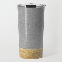 Color Blocked Gold & Grey Travel Mug