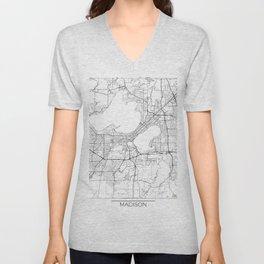 Madison Map White Unisex V-Neck