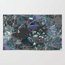 Forest first frost floral camouflage Rug