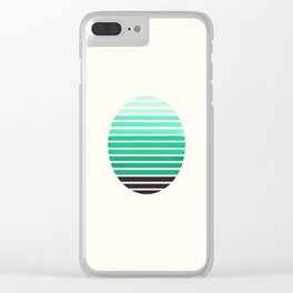 Teal Green Mid Century Modern Minimalist Scandinavian Colorful Stripes Geometric Pattern Round Circl Clear iPhone Case