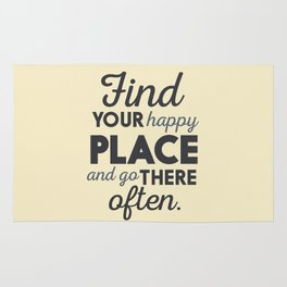 Wanderlust, find your happy place and go there, motivational quote, adventure, globetrotter Rug