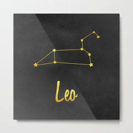 Gemini Zodiac Constellation in Gold Metal Print