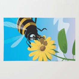 Happy cartoon bee with yellow flower LARGE Rug
