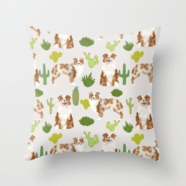 Australian Shepherd owners dog breed cute herding dogs aussie dogs animal pet portrait cactus Throw Pillow