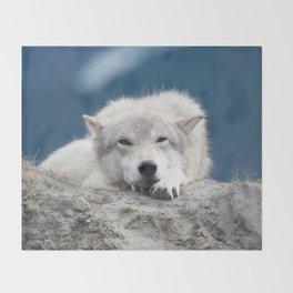 Sleepy Wolf Throw Blanket