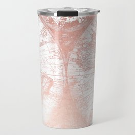 Rose Gold Pink Antique World Map by Nature Magick Travel Mug