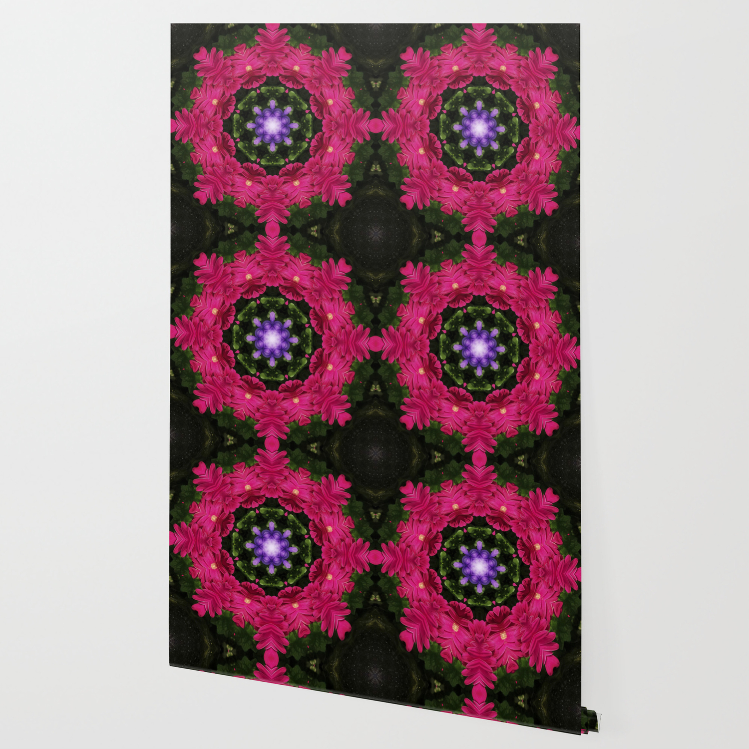 Hot Pink Gerbera And Cool Blue Viola Kaleidoscope Wallpaper By