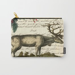 western country primitive christmas mountain animal wildlife winter pine tree elk Carry-All Pouch
