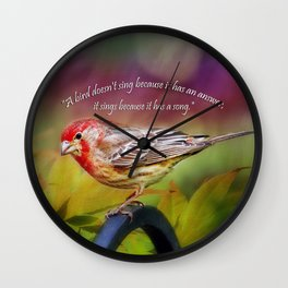 Red Finch Wall Clock