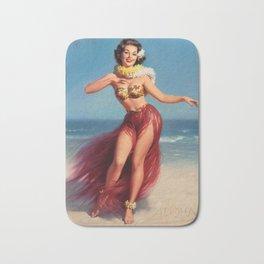 Hula Girl Vintage Pin Up Art Bath Mat