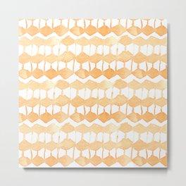 Large Orange Tribal Square Pattern Metal Print