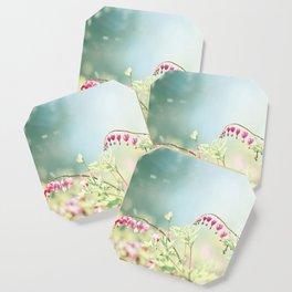 Bleeding Heart Flower Photography, Pink Blue Green Aqua Pastel, Floral Nursery Nature Spring Coaster