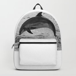 Jumping wild bottlenose dolphin black and white Backpack