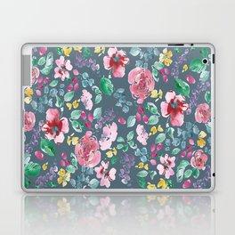 Pink Flowers on Gray Laptop & iPad Skin