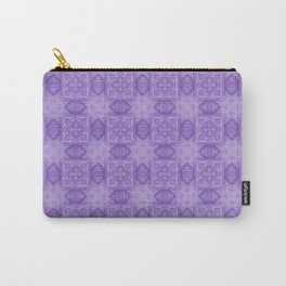 Purple Geometric Floral Carry-All Pouch