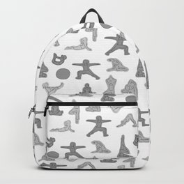 Grey Yoga Pattern Backpack