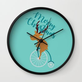 Mr Reindeer having Fun with his Penny-farthing Bicycle Wall Clock
