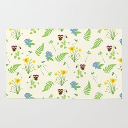 Spring Flowers and Ferns Illustrated Pattern Print Rug