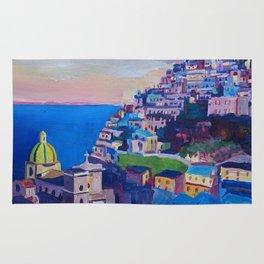 Retro Vintage Style Travel Poster Amazing Amalfi Coast At Sunset Rug