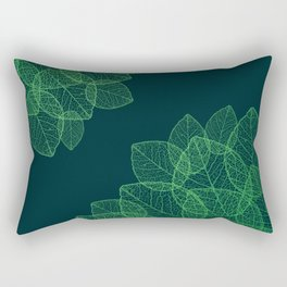 Dry Leaves - Green Rectangular Pillow