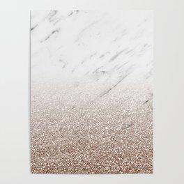 Glitter ombre - white marble & rose gold glitter Poster