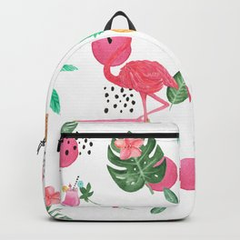 Colorful tropical summer flowers & pink flamingos Backpack