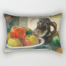 Still Life with Apples, a Pear, and a Ceramic Portrait Jug Rectangular Pillow