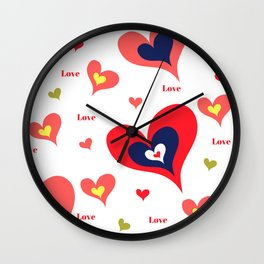 The hearts of Saint Valentines' Day Wall Clock