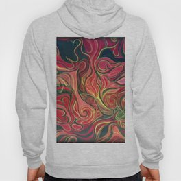 Abstract Red Gold and Black ~New Love Hoody