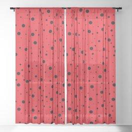 Ladybug Polka Dot Spots Pattern (red/black) Sheer Curtain