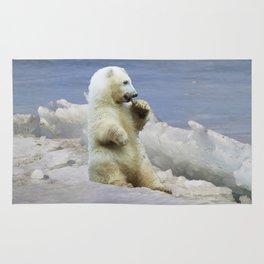 Cute Polar Bear Cub & Arctic Ice Rug